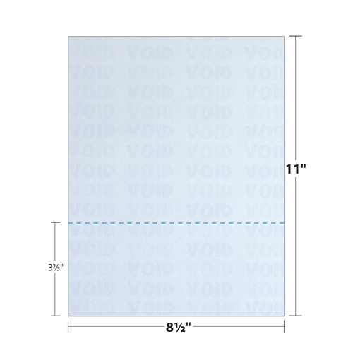 """8.5"""" x 11"""" Security Paper Perforated at Bottom Third, Blue 65 Lb. Cover, 250 Sheets/pack"""