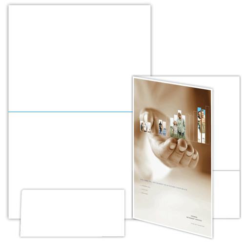 "9"" x 12"" One Pocket Presentation Folder on 12"" x 18"", 80 Lb. Smooth Cover, 100 Folders/pack"