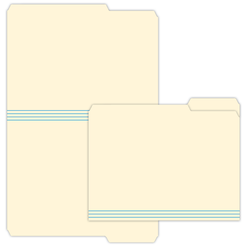 """9.5"""" x 11"""" File Folder with Right Tab on 11.75"""" x 18.5"""", Manila 125 Lb. Tag Stock, 250/pack"""