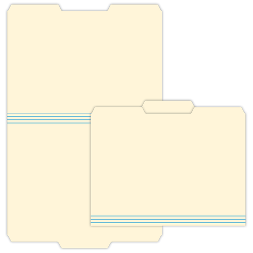 """9.5"""" x 11"""" File Folder with Center Tab on 11.75"""" x 18.5"""", Manila 125 Lb. Tag Stock, 250/pack"""