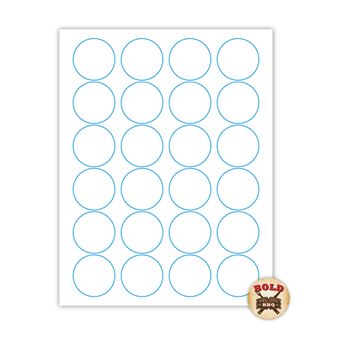"""1.67"""" x 1.67"""" Round Label on 8.5"""" x 11"""", White 120 Lb. Matte, 2400 Labels/pack"""