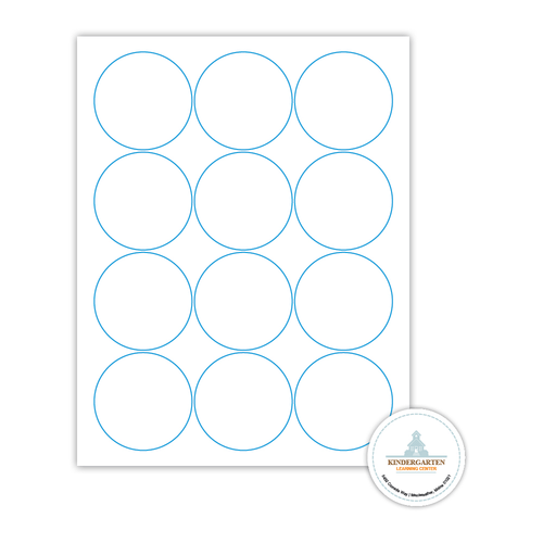"""2.5"""" x 2.5"""" Round Label on 8.5"""" x 11"""", White 120 Lb. Matte, 1200 Labels/pack"""