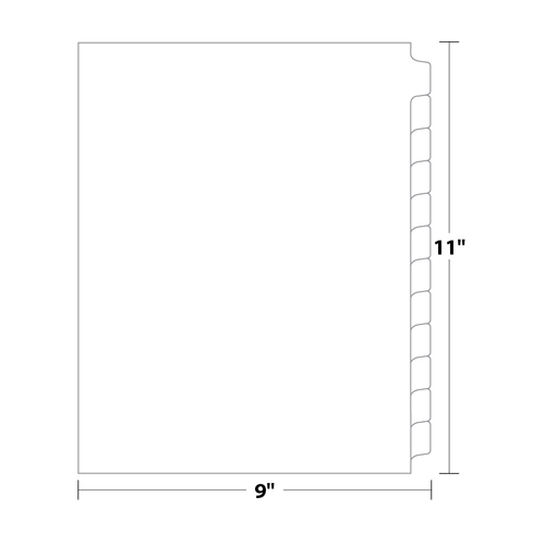 12-Bank Tab Dividers, Uncollated, 110 Lb. Index, 50 Sets/pack