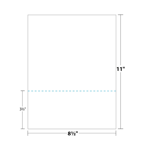 """8.5"""" x 11"""" Perforated Paper, 3.67"""" from Bottom, 67 Lb. Bristol Cover, 250/pack"""