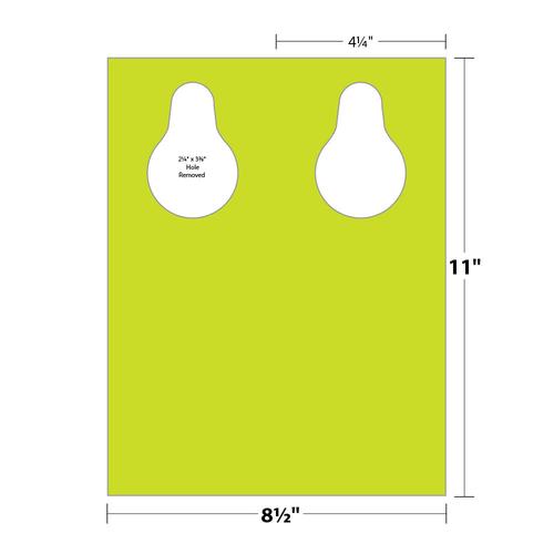 """4.25"""" x 11"""" Door Hanger with Teardrop Hole on 8.5"""" x 11"""", 10 Pt. Hot Stock, 500/pack"""