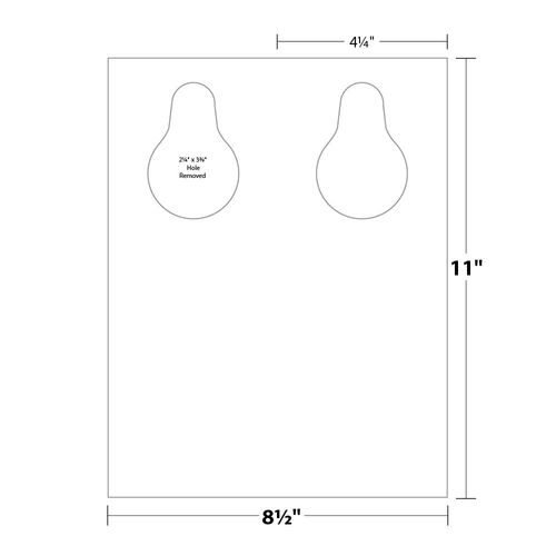 """4.25"""" x 11"""" Door Hanger with Teardrop Hole on 8.5"""" x 11"""", 80 Lb. Smooth Cover, 500/pack"""