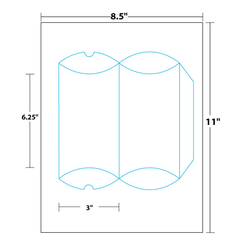"""6.25"""" x 3"""" Lift Off™ Pillow Box with Tape Included on 8.5"""" x 11"""", White 100 Lb. Vellum, 25 Boxes/Pack"""