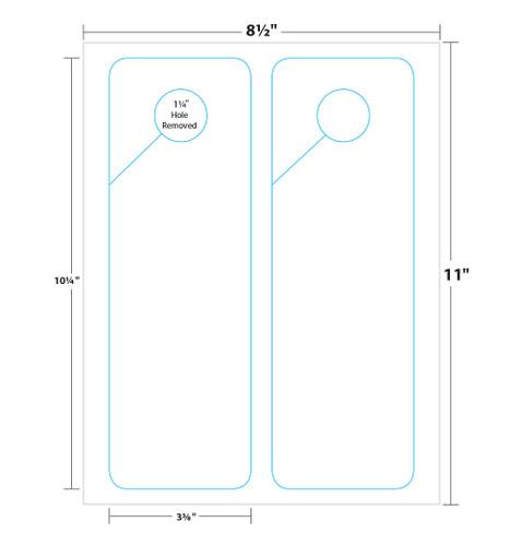 """3.37"""" x 10.25"""" Lift Off™ Door Hanger on 8.5"""" x 11"""", White 100 Lb. Cover Copy, 50 Door Hangers/Pack"""