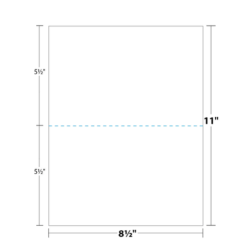 """8.5"""" x 11"""" Paper Perforated in Half, White 24 Lb. Bond, 500/pack"""