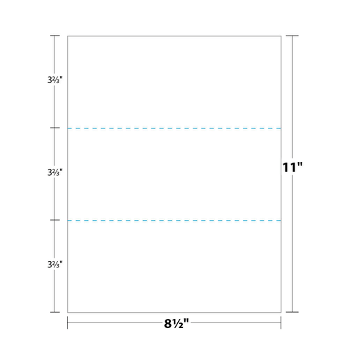 """8.5"""" x 11"""" Paper Perforated in Thirds, White 24 Lb. Bond, 500/pack"""