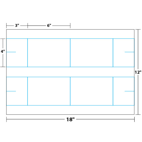 """4"""" x 3"""" x 6"""" Lift Off Table Tent on 12"""" x 18"""", White 14 Pt. Invercote, 100 Table Tents/Pack"""