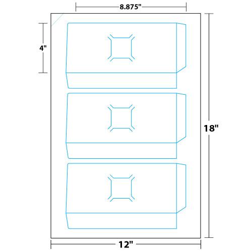 "9"" x 12"" Lift Off™ Two Pocket Presentation Folder with Business Card Slits on 12"" x 18"", 12 Pt. Cast Coat, 50 Folders/Pack"