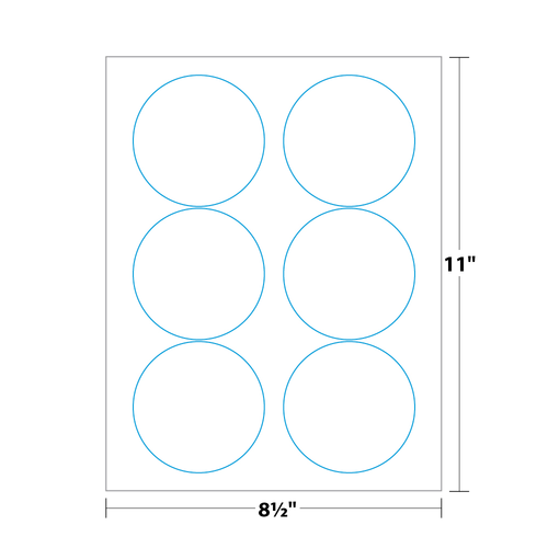"""3.34"""" x 3.34"""" Round Label on 8.5"""" x 11"""", White 120 Lb. Matte, 600 Labels/pack"""