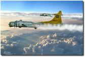 Aluminum Overcast Skies Aviation Art