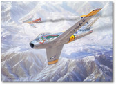 MiG Alley by Mark Karvon - North American F-86 Sabre - Mikoyan-Gurevich MiG-15 Aviation Art