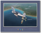 1st Lt. Robert Hanson over Keravia Bay, January 1944 Aviation Art