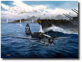 Too Close For Comfort by Tom Freeman - Helldiver   Aviation Art