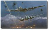 Lancaster Under Attack by Robert Taylor  Aviation Art