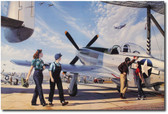 "Impressing the Night Shift ""Canvas Giclee"" by Stan Vosburg - P-51 Mustang"