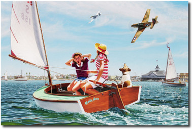 Buzzin' the Bay by Stan Vosburg - P-51 Mustang
