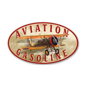 Aviation Gasoline Oval Metal Sign