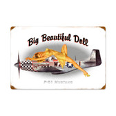 P51 Pinup Vintage Metal Sign