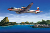 Seven Seas to Rio is an Art Print by Aviation Artist Mike Machat, featuring a Braniff DC-7C .