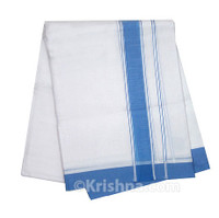 "Summer Cotton Dhoti, 1"" Simple Border, Blue"