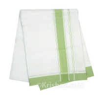 "Summer Cotton Dhoti, 1"" Simple Border,  Pale-Green"