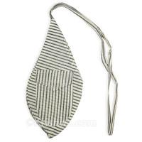 Large Khadi Bead Bag, Pocket, Navy Blue & White