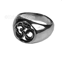 Om Inlaid Stainless Steel Ring