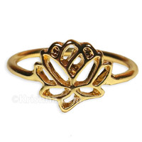 Delicate Lotus Ring, 18k Gold Plated