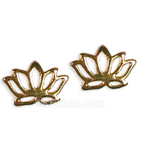 Delicate Lotus Earring Studs, 18k Gold Plated