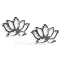 Delicate Lotus Earring Studs, Silver Plated