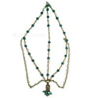 Girl's Tikka, Peacock Blue & Pearl Antique