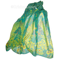 Rajasthan Peacock Scarf, Teal & Yellow