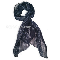 Cotton Weave Scarf, Blue & White