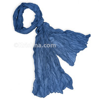 Cotton Voile Scarf, River Blue