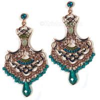 Manipuri Festival Earrings, Copper & Teal