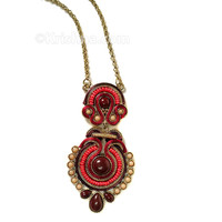 Chandrika Festival Necklace, Henna Red