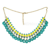 Girl's Necklace, Teal Teardrops