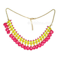 Girl's Necklace, Pink Teardrops
