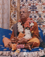 "Srila Prabhupada Photo, New York, Blue Vyasasana, 11""x14"""