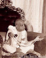 "Srila Prabhupada Sepia Photo, Holding Japa Beads, 8"" x 10"""