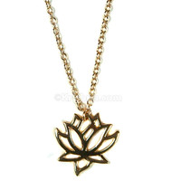 Delicate Lotus Pendant, 18k Gold Plated