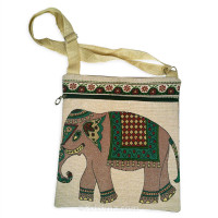 Canvas Brocade Shoulder Bag, Gray Elephant