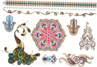 Metallic Temporary Tattoos, Mandala, Colors & Metallics