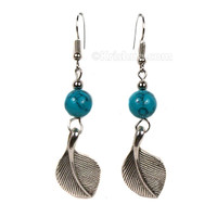 Kanupritha Leaf Earrings, Turquoise Bead