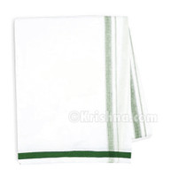 Cotton Dhoti, Dark Green Border