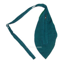 Small Silk Look Bead Bag  w/ Zipper, Teal